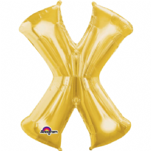 "Gold Letter X Balloon - Gold Letter Balloon (34"")"